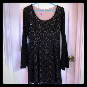 Long sleeved black lace dress